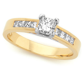 Princess Cut Claw and Channel Set Ring TPRD