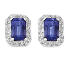 Emerald Cut Tanzanite and RBC Diamond Earrings ETZ08