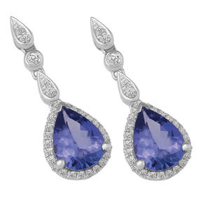 Pear Shape Tanzanite and Diamond Drop Earring ETZ115