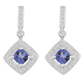 Cushion Cut Tanzanite and RBC Diamond Milgrain Earring ETZ12