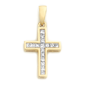 Princess Cut Cross Pendant