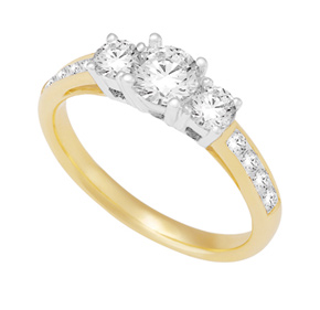 Channel and Claw Set 3 Stone Ring TR115
