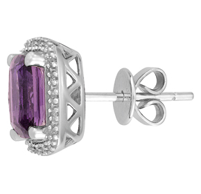 Cushion Amethyst and Diamond Earrings E18AM