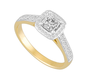 Micro Pave RBC and Princess Cut Ring TR12460
