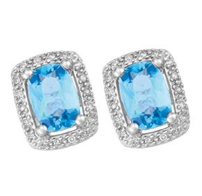 Cushion Blue Topaz and Diamond Earrings E18BT