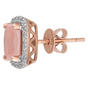 Cushion Rose Quartz and Diamond Earrings E18RQ