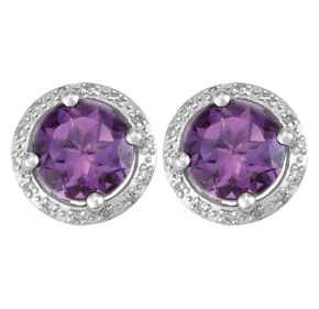 Round Amethyst and Diamond Earrings E19AM