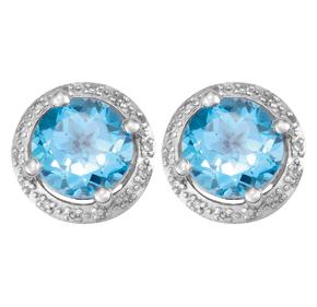 Round Blue Topaz and Diamond Earrings E19BT