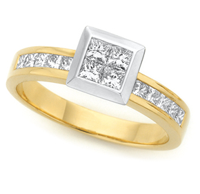 Princess Cut Invisible and Channel Set Ring