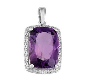 Cushion Amethyst and Diamond Pendant P18AM