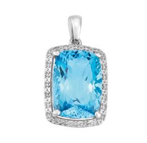 Cushion Blue Topaz and Diamond Pendant P18BT