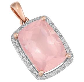 Cushion Rose Quartz and Diamond Pendant P18RQ