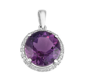 Round Amethyst and Diamond Pendant P19AM