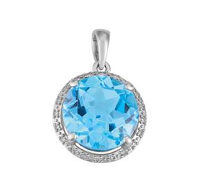 Round Blue Topaz and Diamond Pendant P19BT