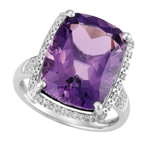 Cushion Amethyst and Diamond Ring R18AM