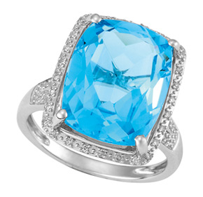 Cushion Blue Topaz and Diamond Ring R18BT