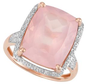 Cushion Rose Quartz and Diamond Ring R18RQ