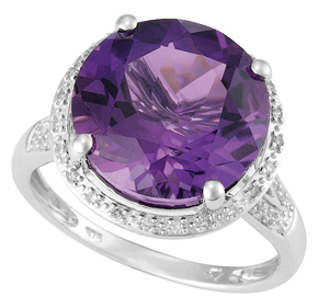 Round Amethyst and Diamond Ring R19AM
