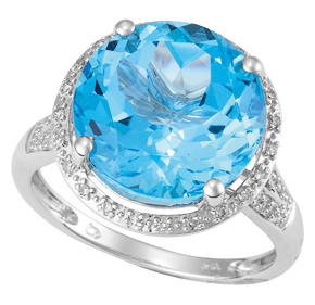 Round Blue Topaz and Diamond Ring R19BT