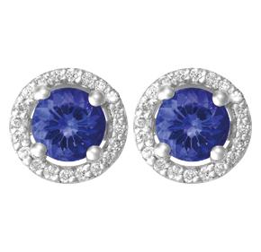 Round Tanzanite and Diamond Earrings ETZ21