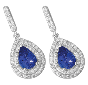 Pear Tanzanite and Diamond Drop Earrings ETZ22