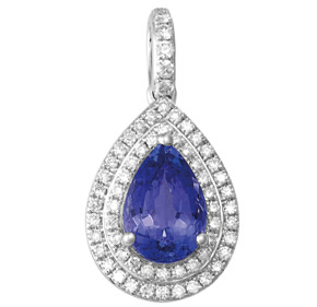 Pear Tanzanite and Diamond Pendant PTZ22