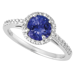 Round Tanzanite and Diamond Ring RTZ21