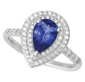 Pear Tanzanite and Diamond Split Shank Ring with Micro Pave Shoulders RTZ22