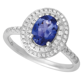 Oval Tanzanite Ring with Split Shank and Micro Pave Shoulders RTZ23