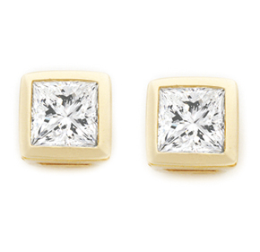 Princess Cut Bezel Earrings