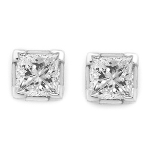 Princess Cut Claw Earrings