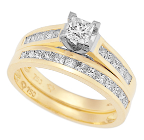 Princess Cut Claw and Channel Set Ring R5700