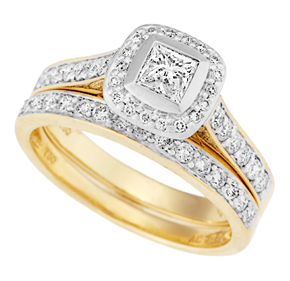 Princess Bezel and Pave Set Ring