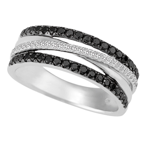 Cross Over Black Diamond Ring RBD6