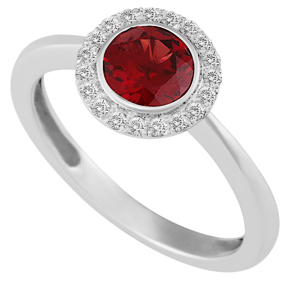 Round Garnet and Diamond Ring