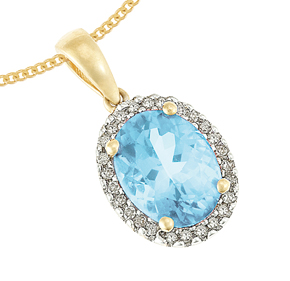 Cluster Pendant with Diamond and Blue Topaz