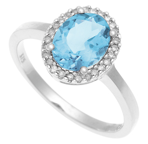 Cluster Ring with Diamond and Blue Topaz