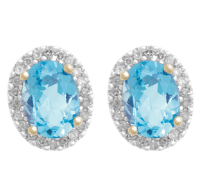 Cluster Earring with Diamond and Blue Topaz