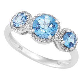 Blue Topaz 3 Stone Ring and RBC Diamond