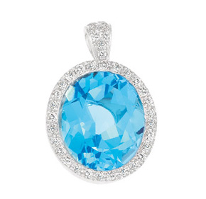 Oval Blue Topaz and Diamond Pendant