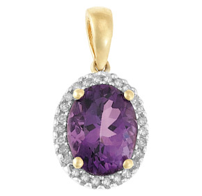 Cluster Pendant with Diamond and Amethyst