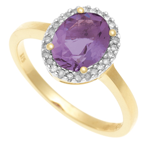 Cluster Ring with Diamond and Amethyst