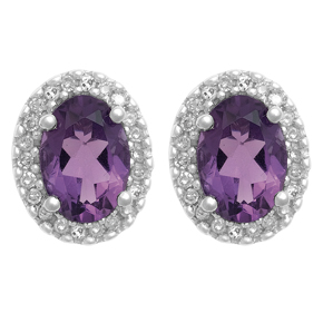 Cluster Earring with Diamond and Amethyst