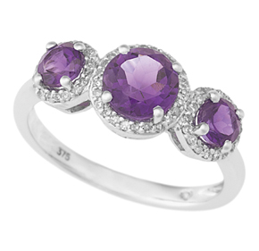 Amethyst 3 Stone Ring and RBC Diamond