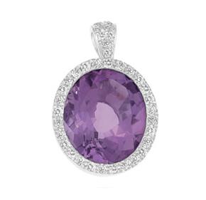 Oval Amethyst and Diamond Pendant