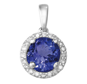 Round Tanzanite and Diamond Pendant PTZ21