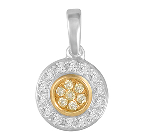 Round Yellow & White Diamond Pendant