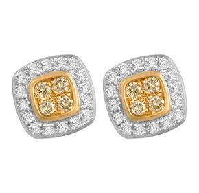 Cushion Yellow & White Diamond Earrings