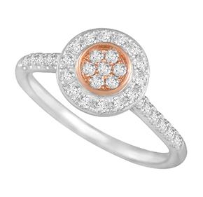 Round Cluster Pink & White Diamond Ring