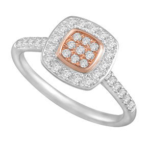 Cushion Pink & White Diamond Ring
